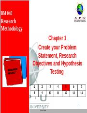 3. Chapter 1- Problem, Objective, Questions and Hypothesisv1.pptx