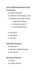 Uses of Marketing Research Notes