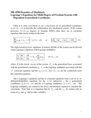 Lagrange's Equations for Multi-Degree-of-Freedom Systems with Dependent Generalized Coordinates Revi