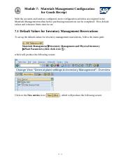 Module 7 - Materials Management Configuration for Goods Receipts NW7