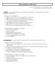 Week 5 - Thomas & Kilmann Conflict Styles - 2 page overview