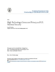 High Technology Consumer Privacy and U.S. National Security