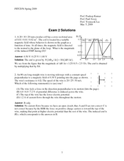 Exam 2 Solution Spring 2009 on Physics II