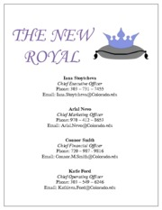 The New Royal Final Project