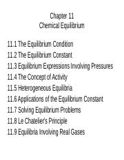 Chapter 11 equilibrium lecture notes - Chapter 11 Chemical