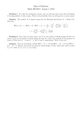 Quiz 4 Solution on Probability 1