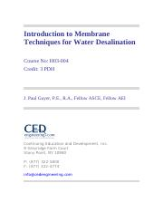 Intro to Membrane Techniques for Water Desalination