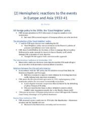 (2) Hemispheric reactions to the events in Europe and Asia 1933-41