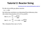 Tutorial 2 Reactor sizing and sequencing