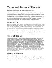 Types and Forms of Racism.docx