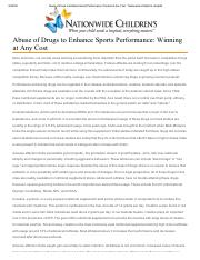 Abuse of Drugs to Enhance Sports Performance_ Winning at Any Cost __ Nationwide Children's Hospital.