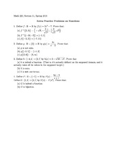 Extra Practice Problems on Functions