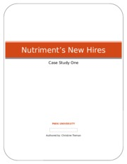 case study nutriment s new hires Compensation - nutriment's new hire - case study consequently, anemphasis on innovation is a legitimate strategic direction for firms in this industry (hill and snell, 1988)the most straightforward action for a firm that pursues innovation is to increase its resource allocation to r&dinvestments to enhance.