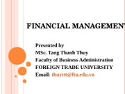 Lecture 1 Introduction to Financial Management