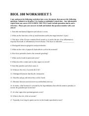BIOL 108 WORKSHEET 5
