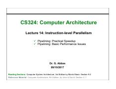 14. Instruction-level Parallelism Pipelining Practical Speedup, Basic Performance Issues.pdf