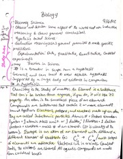 Notes on Chemistry in the study of biology