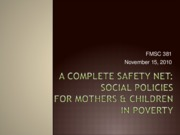 11.17 Mothering--Feminization of poverty and Teen Pregnancy--Fall 2010