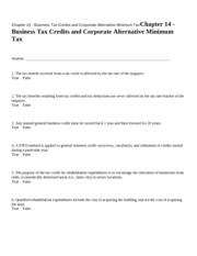 Chapter 14 - Business Tax C