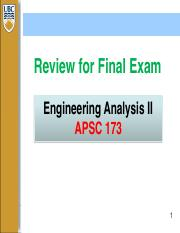 Review for Final Exam APSC 173(1)