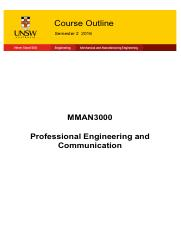 Course Outline - MMAN3000 - S2 2016