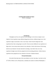 Autobiographical Reflection Paper