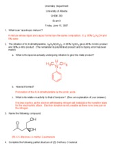CHEM 263 - Exam IIa - June 8, 2007