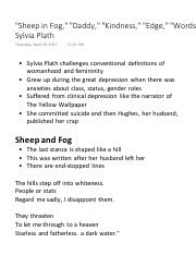 Sheep in Fog, Daddy, Kindness, Edge, Words - Sylvia Plath.pdf