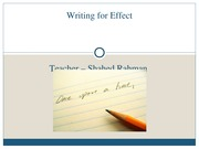 Chapter 4- Writing for Effect