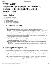 Lecture 12 The Compiler Front End