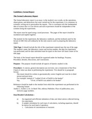 Formal Report Guidelines