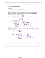5.3 Radical Equations