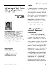 self managing work teams essay Self-managed work teams play a key role in organizations that take a team-based approach to solving problems and improving efficiency and with self-managed teams, employees have more job satisfaction because they are directly involved in the day to day running of a company and are more.