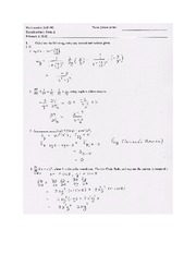 Exam A Solutions on Calculus Page 1