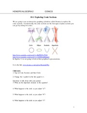 Exploring Conic Sections Notes