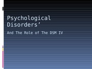 PSY 210 Week 8 Assignment Psychological Disorders Presentation