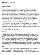 Value for Money Research Paper Starter - eNotes