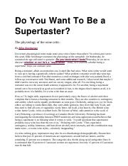 Do You Want To Be a Supertaster.docx