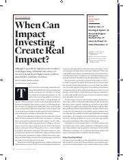 Brest & Born (SSIR_ 2013) - When Can Impact Investing Create real Impact
