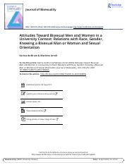 2 Attitudes Toward Bisexual Men and Women in a University Context Relations with Race Gender Knowing