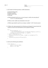 CSE017 - Spring 2015 - Sample Exam Questions (1)