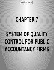 Chapter 7- System of Quality Control for Public Accountancy Firms