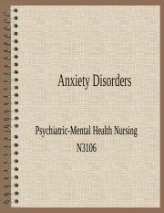 Anxiety Disorders week 5 with ans