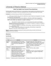health care financial term worksheet week 2 week two health care financial terms worksheet. Black Bedroom Furniture Sets. Home Design Ideas