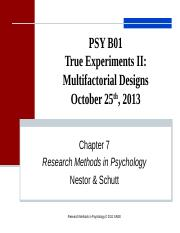 Lecture 7 True Experiments. Multifactorial Designs