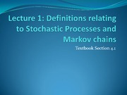 Definitions relating to Stochastic Processes and Markov Chains