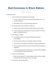 Bad Outcomes in Black Babies