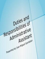 DUTIES AND RESPONSIBILITIES OF ADMINISTRATIVE ASSISTANT BY GENTALLAN