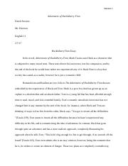 Huck Fin Essay on the Story of America.docx