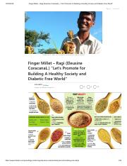 Finger Millet – Ragi (Eleusine CoracanaL.) _Let's Promote for Building A Healthy Society and Diabeti
